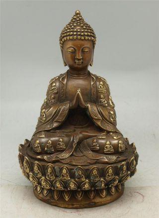 Oriental Chinese Bronze Buddha Statue - 30cm High - Seated - Praying photo