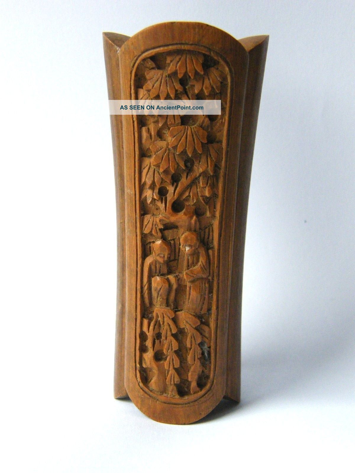Antique - Chinese - Hand Carved - Monk Detail Fruit Wood Table Snuff Box - Signed - C1900 Boxes photo