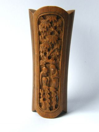 Antique - Chinese - Hand Carved - Monk Detail Fruit Wood Table Snuff Box - Signed - C1900 photo