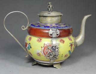 Chinese Handwork Painting Dragon Phoenix Old Jade Porcelain Tea Pot photo