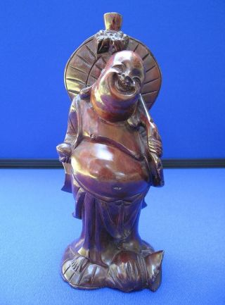 Fine Antique Chinese Carved Rosewood Large Buddha Statue photo