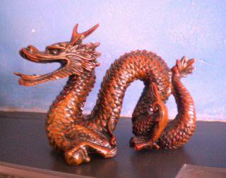 Vintage Chinese Dragon Fierce Redstone ? Hardstone Carved Heavy photo