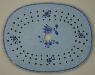 Rare Late 18th Or Early 19th Century Chinese Porcelain Blue & White Drainer photo