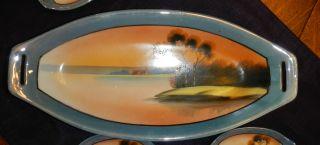 Vintage Handpainted Sushi Boat & 6 Wasabi / Contiment Trays - Euc Lusterware photo
