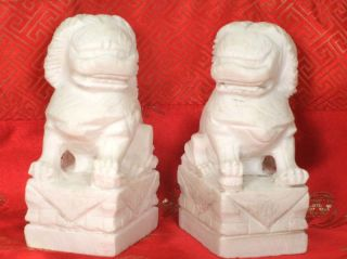 A Pair Of Chinese Marble Stone Lions/foodogs photo