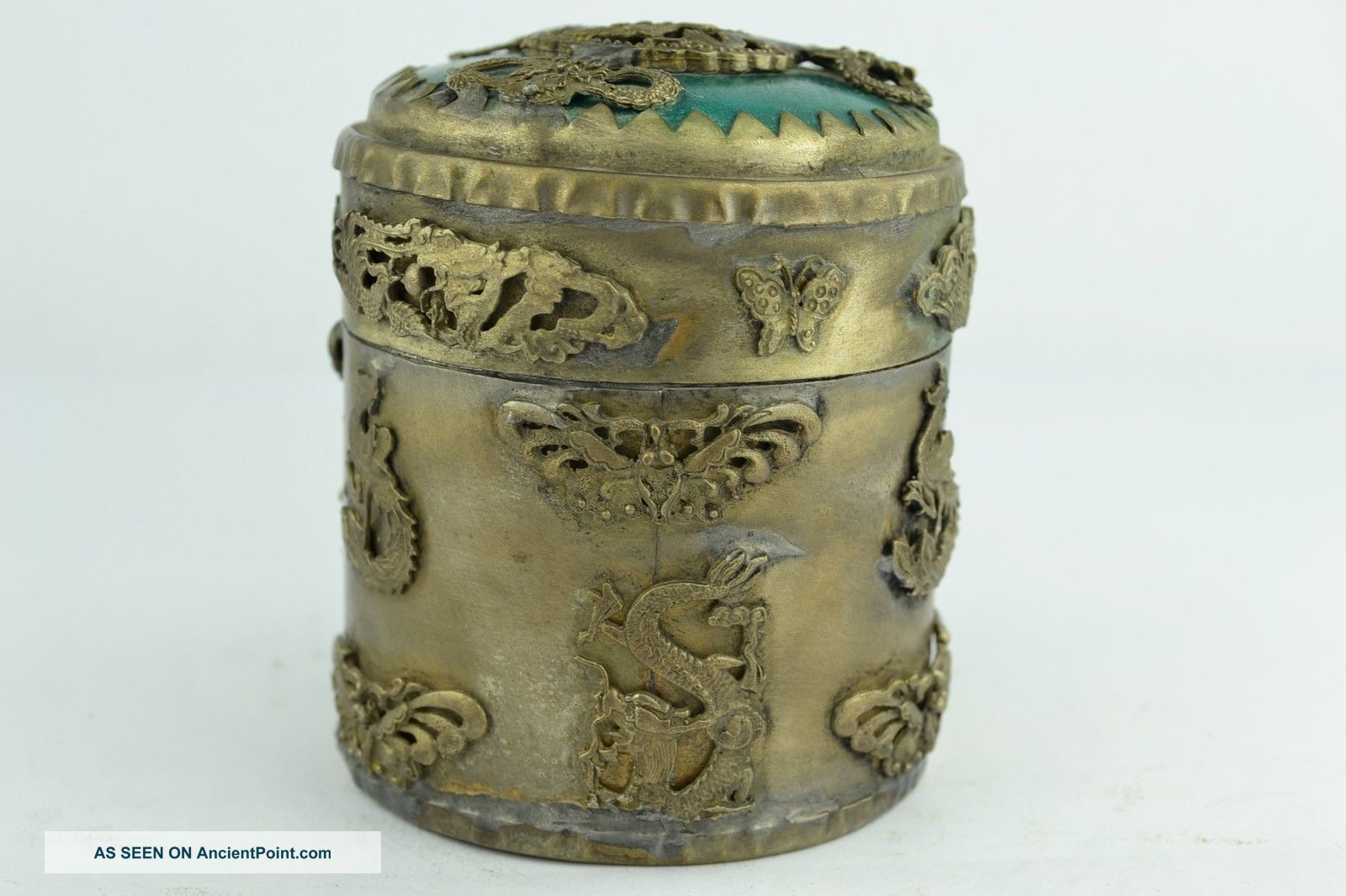 Asian Old Collectibles Decorated Wonderful Handwork Jade Dragon Toothpick Box Boxes photo