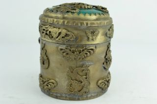 Asian Old Collectibles Decorated Wonderful Handwork Jade Dragon Toothpick Box photo