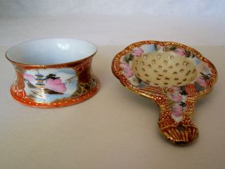Antique Japanese Scenic Porcelain Tea Strainer & Holder,  Geisha,  Infuser photo