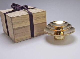 Japanese Vintage Valuable Three Sak Cup Gold 24k W/ Kiri Wood Box Sakazuk 3 Cups photo