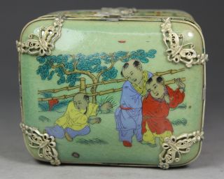 Chinese Old Porcelain Handwork Painting Favorite Armored Butterfly Jewel Box photo