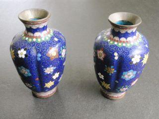 Rare,  Early Handmade Japanese Cloisonne Vases - photo