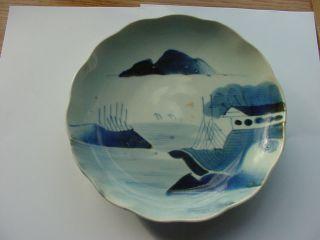 Antique Arita Blue And White Plate Landscape Scene With Boats photo