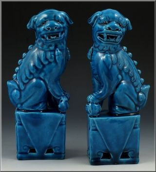 Pair Of 19th C Chinese Monochrome Blue Foo Dog Statues photo