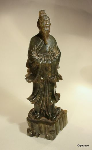 Chinese Soapstone Carving Immortal - Green photo
