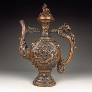 Chinese Bronze Flagon / Teapot / Wind Pot W Kang Xi Mark Nr photo