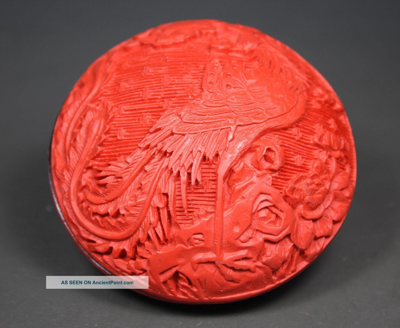 Chinese Handwork Carving Phoenix Old Lacquer Jewel Box Boxes photo