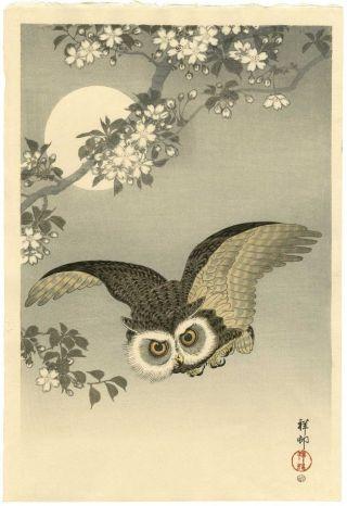 Ohara Koson Japanese Woodblock Print - Scops Owl - 6mm Edition photo