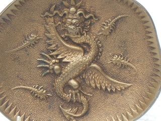 Unusually Fine Antique Brass Oriental Dragon Dish Wonderful Details & Patina Nr photo