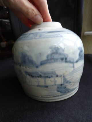 Antique 17thc Ming Dynasty Kitchen Pottery Signed Ginger Jar Vase photo