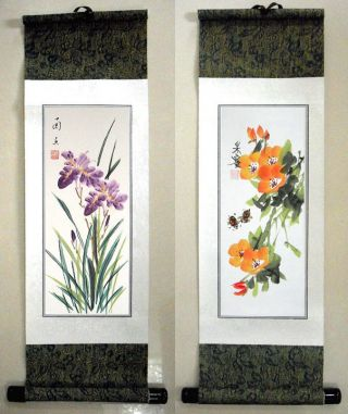 2 Japanese Calligraphy/ Painting Scroll Flower W136 photo