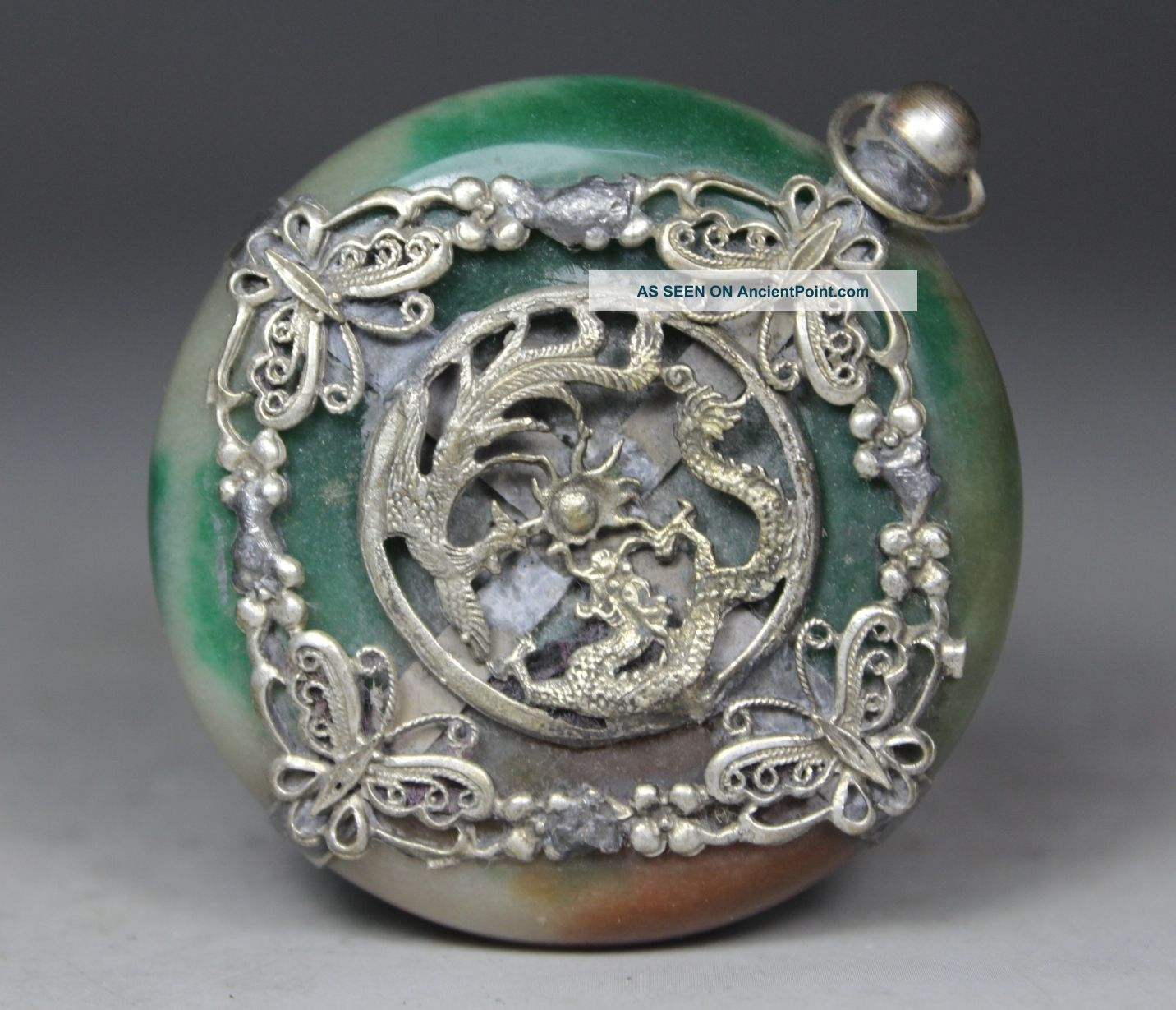 Chinese Old Jade Handwork Dragon Phoenix Pendant Necklaces & Pendants photo
