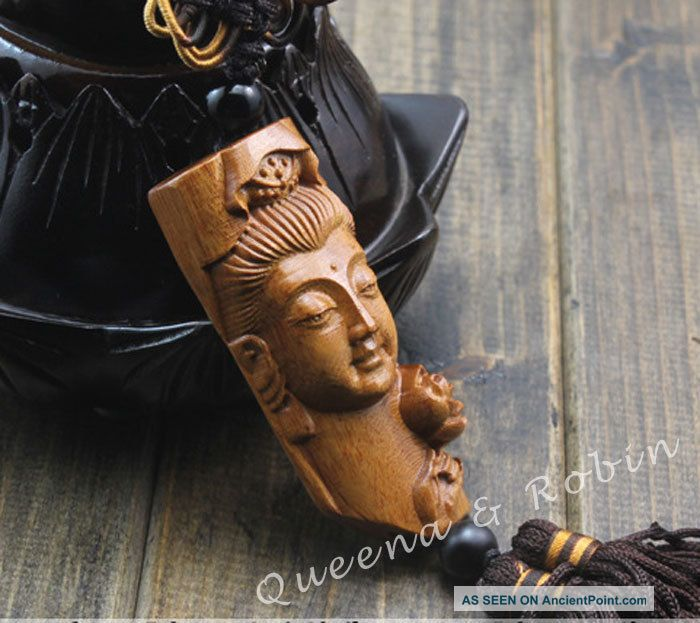 Peach Wood Carved Buddha Kwan - Yin Head Amulet Hand Car Decor Pendant Netsuke Buddha photo