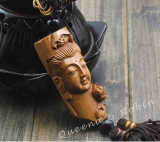 Peach Wood Carved Buddha Kwan - Yin Head Amulet Hand Car Decor Pendant Netsuke photo