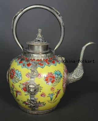 Chinese Old Porcelain Handwork Painting Flower Armored Dragon Large Tea Pot photo