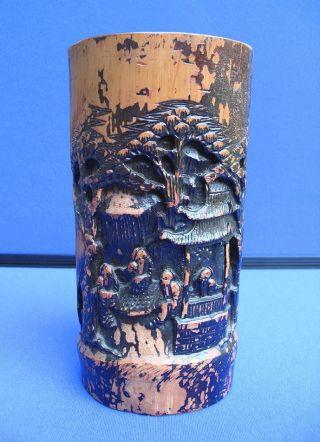 Fine Antique Chinese Carved Bamboo Brush Pot Figural Landscape Design photo