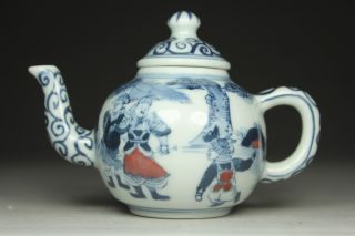 Chinese Handwork Painting Hero Old Porcelain Tea Pot photo