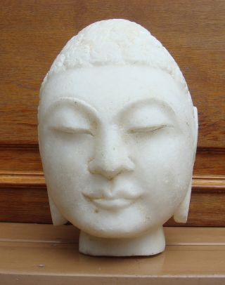 Antique Asian Chinese Carved Marble Stone Bust Buddha Statue photo