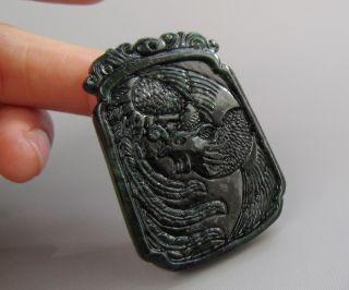 Chinese Hetian Black Green Jade Carved Phoenix Pendant Nr photo