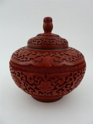 Antique Chinese Cinnabar Lacquer Covered Lotus Jar Vase Box 6 Inches photo