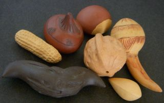 Ceramic / Pottery - Life Size Sculptures - Variety Of Nuts. photo