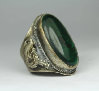 Chinese Handwork Dragon Phoenix Old Jade Ring photo