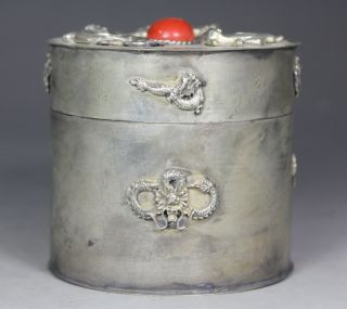 Chinese Old Silver - Plated Handwork Armored Dragon Inlay Coral Bead Snuff Box photo