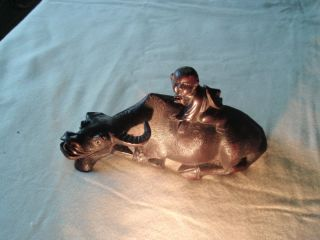 Antique Chinese Carved Wood Boy On Buffalo Or Oxen photo