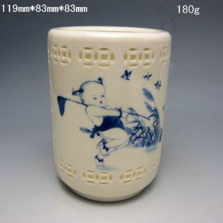Hollowed Chinese Blue And White Porcelain Brush Pots Nr/pc1825 photo