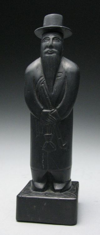 Unusual Primitive Chinese Style Black Carved Stone Scholar Figurine Sculpture photo