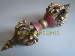 Tibet Tibetan Bronze Coral Buddhist Ritual Tool Vajra Doorje photo