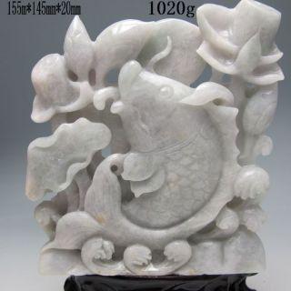 100% Natural Jadeite Jade Hand - Carved Statues - - - Fish&lotus Nr/xy1941 photo