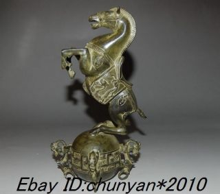 Chinese Bronze Horses Standing On The Ball &with Qing Mark Nr photo