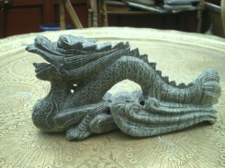 Antique Green Chinese Dragon Very Lucky Magical Soapstone Hardstone Or Jade ? photo