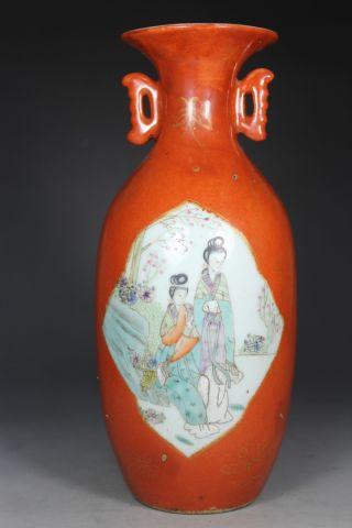Wonderful Asian Oriental Old Porcelain Handwork Painting Belle Vase photo