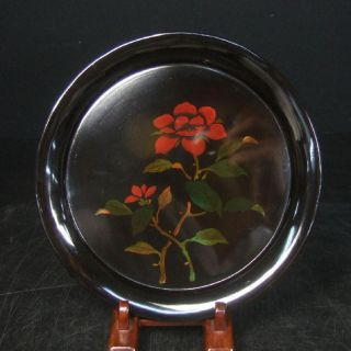 F266: Japanese Yakumo Lacquer Ware Tea - Thing Plate With Flower 1/5 photo
