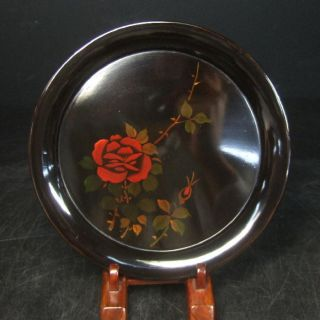 F267: Japanese Yakumo Lacquer Ware Tea - Thing Plate With Flower 2/5 photo