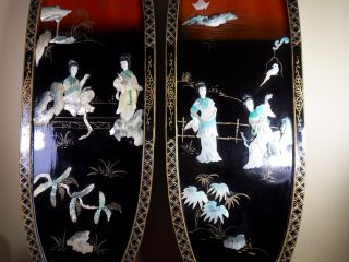 Antique Japanese Geisha Wood Lacquer & Mother Of Pearl Wall Panels Art Asian photo