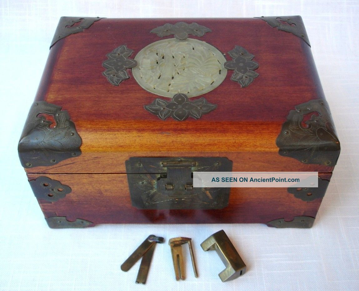 Vintage Chinese Shanghai Southeast Asian Jade Brass Jewelry Box Orig Lock & Key Boxes photo