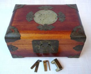 Vintage Chinese Shanghai Southeast Asian Jade Brass Jewelry Box Orig Lock & Key photo