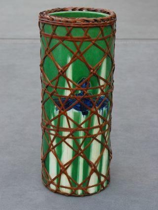 Fine Japanese Iris Carved Work Porcelain Vase W/ Basketwork,  Ikebana 19th - 20thc. photo